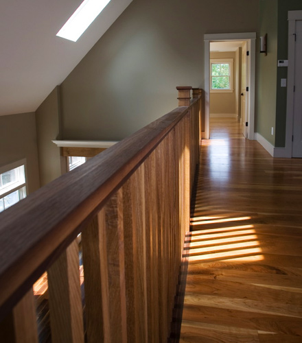 Cherry Floor. Walnut Handrail.