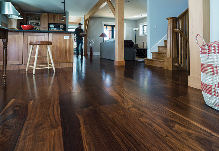 Wide Plank Walnut Hardwood Flooring Part - 15: Walnut Wide Plank Hardwood Flooring - Ponders Hollow Custom Wood Flooring U0026  Millwork | Westfield, MA