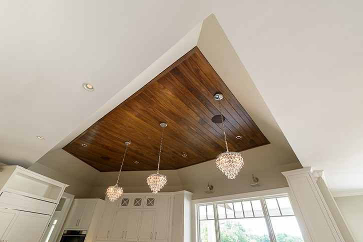 Walnut Ceiling. Painted Trim and Mouldings.